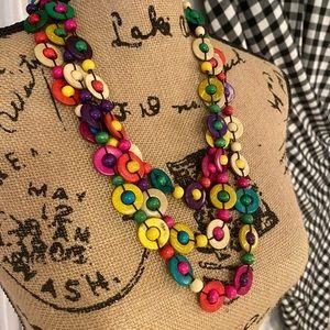 Cute wooden bead necklace rainbow NWT